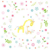 The giraffe cartoon greeting card Stock Photography