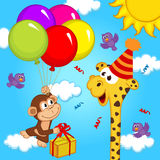 Giraffe celebrating birthday Stock Photos