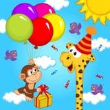 Giraffe celebrating birthday Stock Photos