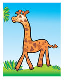Giraffe children's drawing. Happy giraffa walking in the nature Stock Photo