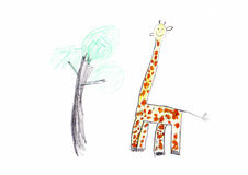 Giraffe Children's Drawing Stock Photos