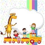 Giraffe. Children on the train. Locomotive. Eps 10 Stock Images
