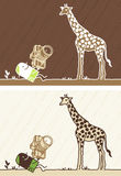 Giraffe colored cartoon Stock Photos