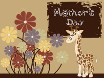 Giraffe with colorful flowers,  illustration Royalty Free Stock Images