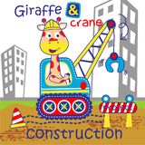 Giraffe and crane funny animal cartoon,vector illustration. For t shirt and wallpaper or book stock illustration