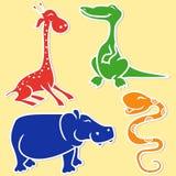 Giraffe, crocodile, hippo and boa Stock Photography