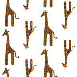 Giraffe cute vector seamless pattern. Safari animal texture spots child background. Royalty Free Stock Photos