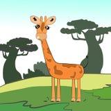 Giraffe in der Karikaturart auf dem Hintergrund der Landschaft von Afrika Lizenzfreie Stockbilder