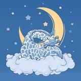 Giraffe, die auf einer Wolke schläft Farbgrafikillustration Stockfotografie