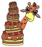 Giraffe, die einen Kuchen hält Stockbilder