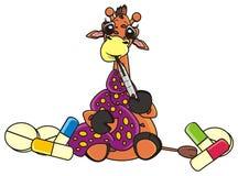 Giraffe, die einen Thermometer hält Stockfotos