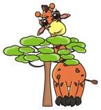 Giraffe, die hinter einem Baum sich versteckt Lizenzfreie Stockfotos