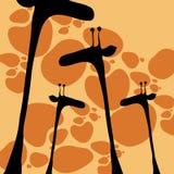 Giraffe disegnate a mano sveglie di stile Fotografia Stock