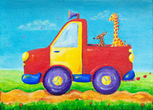 Giraffe and dog riding on a red pick-up truck. A colourful and creative painting of a giraffe and a dog in the back of a pick-up truck, with peace on the hub stock illustration
