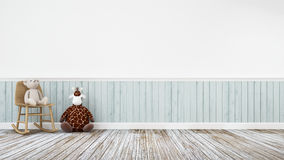 Giraffe doll and teddy bear in wooden decoration - 3d rendering Stock Image
