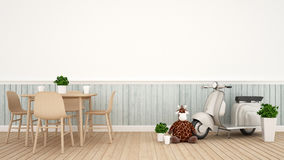 Giraffe doll and Vintage motorcycle in dining room - 3D Renderin. Gfor artwork Stock Images