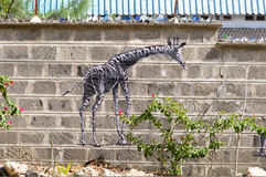 Giraffe draw on a wall of raw blocks stock photos