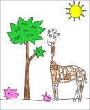 Giraffe drawing Stock Image