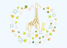 A giraffe and a duck. Standing side by side with autumn leaf flowing around shaping a frame vector illustration