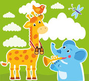 Giraffe And Elephant Cartoon Vector. Baby Frame Or Card. Giraffe Drawing. Royalty Free Stock Photography