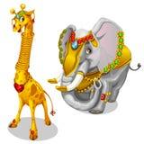 Giraffe and elephant decorated precious jewelry Royalty Free Stock Photos