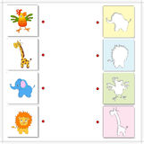 Giraffe, elephant, parrot and lion. Educational game for kids Royalty Free Stock Images