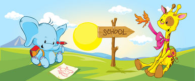 Giraffe and elephant on the way to school - vector Stock Images