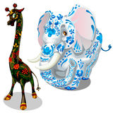 Giraffe and elephants painted figurines. Vector Royalty Free Stock Photos