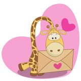 Giraffe with envelope Stock Images