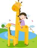 Giraffe et enfants illustration libre de droits