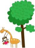Giraffe et fille Photos stock