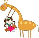 Giraffe et fille Photo libre de droits
