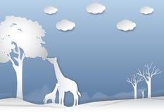 Giraffe& x27; familia de s en el fondo de la naturaleza del extracto del desierto libre illustration