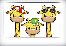 Giraffe family gang in holiday. Cute little giraffes have on hat and glasses in polaroid frame Stock Images