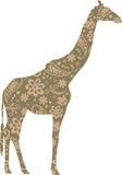Giraffe Floral πράσινος καφετής σχεδίων Στοκ Εικόνες