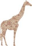 Giraffe Floral Pattern Beige Stock Image