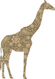 Giraffe Floral Pattern Green Brown Stock Photo