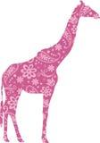 Giraffe Floral Pattern Pink Stock Photos