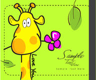 Giraffe and a flower Stock Photography
