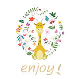 Giraffe and flower background Royalty Free Stock Image