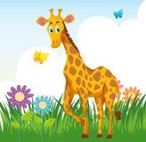 Giraffe in flower garden Royalty Free Stock Image