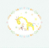 Giraffe and flower greeting card Stock Images