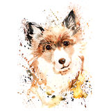 Watercolor dog with paintbrush spashes. Clip art Royalty Free Stock Photo