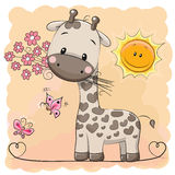Giraffe with flowers and butterflies Stock Images