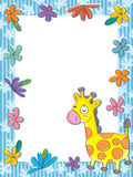 Giraffe Flowers Frame_eps Stock Photo