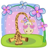 Giraffe with flowers Royalty Free Stock Photos