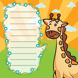 Giraffe and frame texture illustrator background Royalty Free Stock Photos