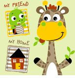 Giraffe and friend. Giraffe and turtle are best friend with little home, vector cartoon. EPS 10 stock illustration