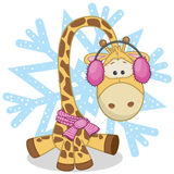 Giraffe in a fur headphones. On the background of snowflake royalty free illustration