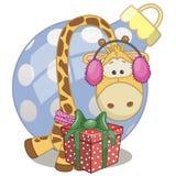 Giraffe in a fur headphones Stock Photo